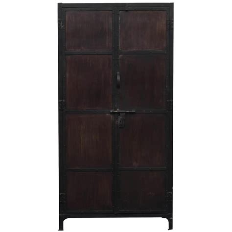 Black Storage Armoire Large Industrial Black Brown Iron Armoire Storage Cabinet