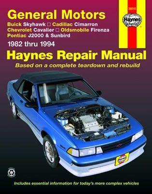 car repair manual download 1985 buick skyhawk transmission control buick skyhawk cadillac cimarron chevrolet cavalier olds firenza pontiac j2000 sunbird