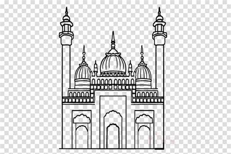 mewarnai gambar masjid ramadhan hitam putih