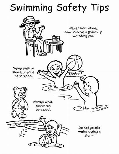 Safety Coloring Pages Pool Swimming Worksheets Activities