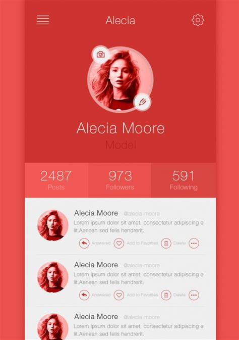 examples  app profile page designs design