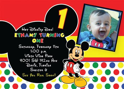 st mickey mouse birthday invitations  invitation