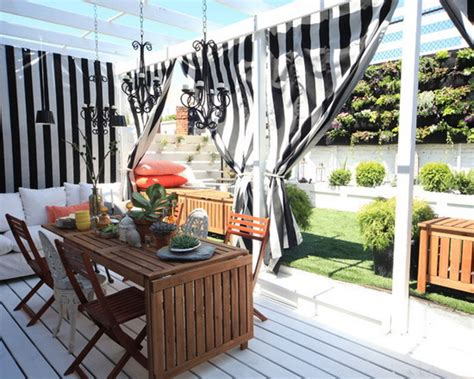 How Curtains Perk Up Your Outdoor Space Polyester Shower Curtain Safety Argos Curtains Grey Eyelet Patio Door With Wand Rod Cord Tension Pulley Gypsy Ruffled Pink Jardin Stripe 72 Inch X Fabric In Green Ring Clips Australia Sizes Of