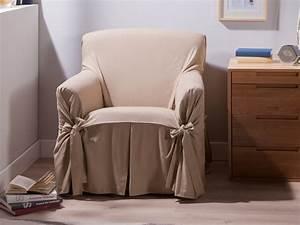 Housse De Fauteuil : housse fauteuil bachette 1 place 100 coton ines beige ~ Teatrodelosmanantiales.com Idées de Décoration