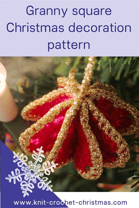 granny square christmas tree decoration knit crochet