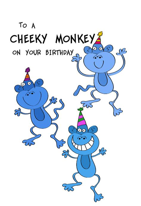cheeky monkeys birthday card  island