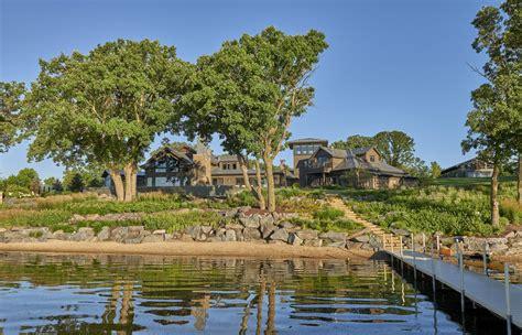 lakeside landscape traditional home