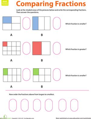 fraction practice comparing fractions worksheet education