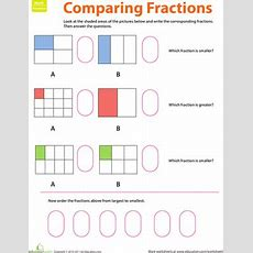 Fraction Practice Comparing Fractions  Worksheet Educationcom