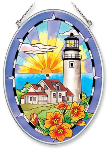 oval lighthouse static cling stained glass stained