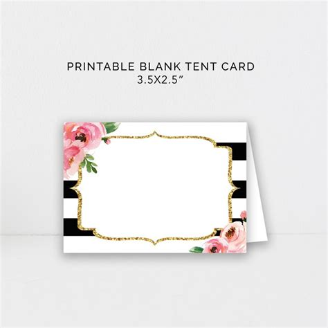 food tent card editable template diy kate place cards