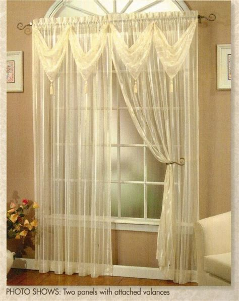 Window Valances On Sale by Quot Quot Striped Sheer Panel With 2 Attached Valances
