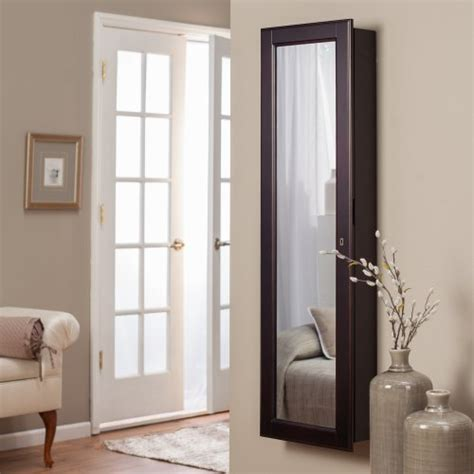 lighted wall mount locking jewelry armoire espresso