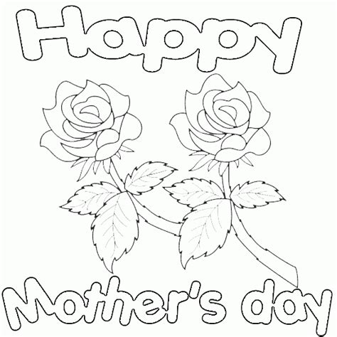 happy mothers day  roses printable coloring page