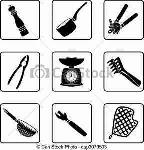 Vectors of Kitchen supplies - kitchen objects silhouettes ...