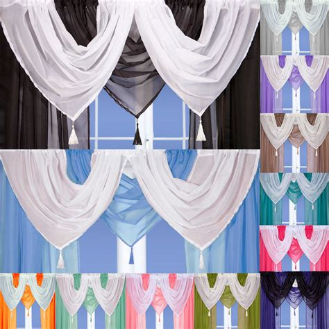 Drapery Swags by Tassled Voile Curtain Swags All Colours Pelmet Valance