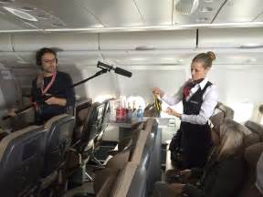 Inside an Airplane Cabin Crew