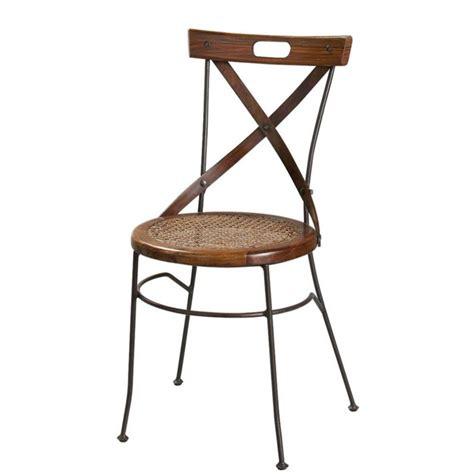 chaise bois et fer chaise croisée en bois de sheesham et fer forgé luberon
