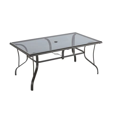 home depot garden table hton bay statesville pewter rectangle aluminum glass
