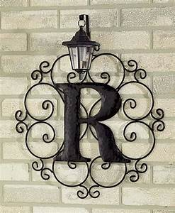 metal monogram solar light wall art hanging decor With wrought iron outdoor monogram letters