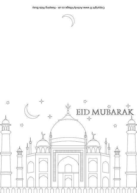 Kleurplaat Eid by Eid Mubarak Colouring Card 2 Kleurplaten Ramadan