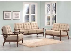 canapes et fauteuil nacka en bois et tissu sable With canapé et fauteuil design