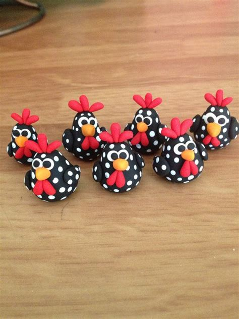 Fimo Air Bemalen by Rooster Polymer Clay Figurines Set Of 2 Basteln Huhn