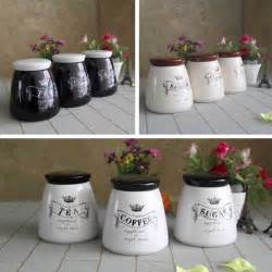 kitchen tea coffee sugar canisters setof3 tea coffee sugar canisters kitchen accessory jars tubs brown white black ebay
