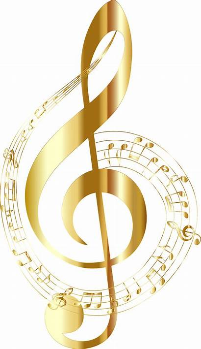 Notes Musical Background Gold Typography Clipart Svg