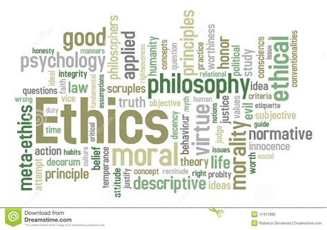 ethics word cloud stock photo image
