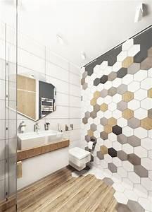 Carrelage Mural Hexagonal : le carrelage hexagonal de salle de bain c 39 est tendance salle de bains avec parquet mur de ~ Carolinahurricanesstore.com Idées de Décoration
