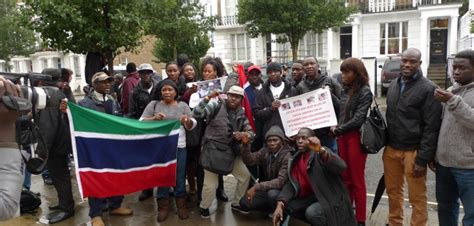 lay siege gambian protesters lay siege to gambian embassy