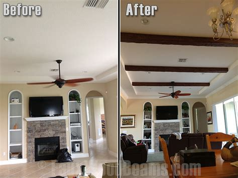 Living Room Makeovers Before And After Pictures by Drywall Ceiling Remodels With Beams Faux Wood Workshop
