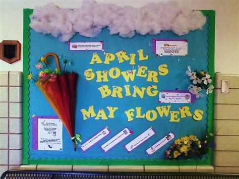 april showers bring may flowers bulletin board ideas april showers bring may book worms april may board month