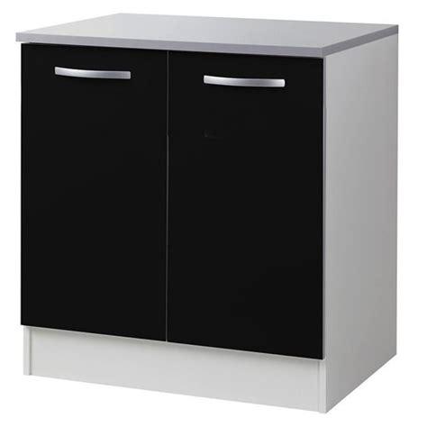 meuble cuisine 80 cm meuble bas de cuisine noir avec 2 portes 80 cm l 80 x p