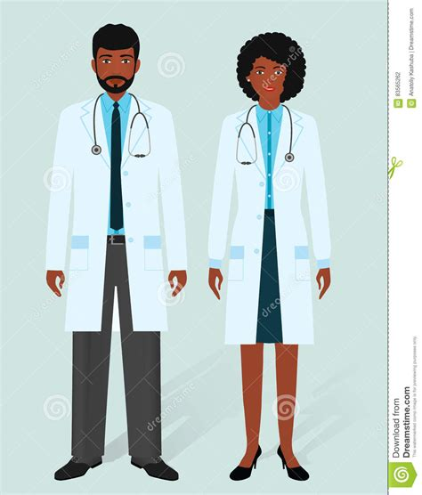 hospital staff concept man  woman african american
