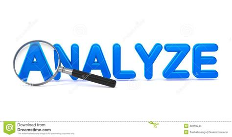 And Blue Analysis by Analyze Blue 3d Word Through A Magnifying Glass Stock