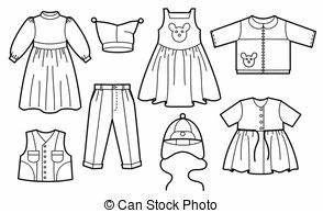 Clothes For Girls Clipart Black And White - ClipartXtras