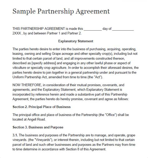 sample partnership agreement templates