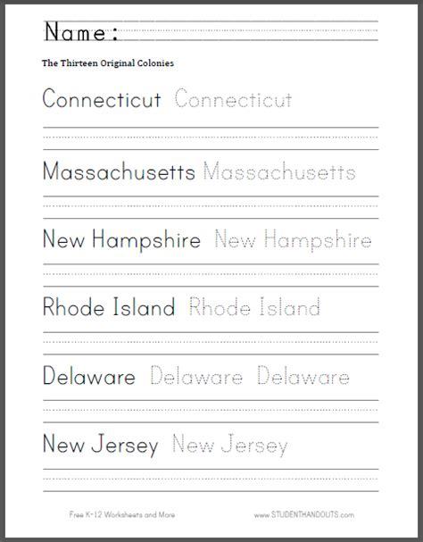 thirteen colonies handwriting and spelling sheet free to