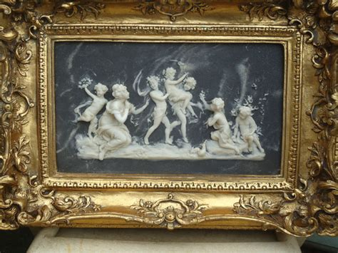 Alabaster Painting With Angels Putti Children Goddess