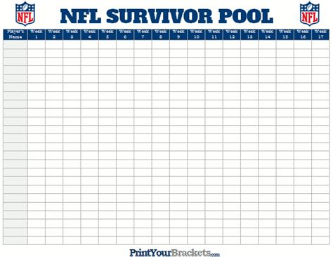 Nfl Office Football Pool Sheets by 50 Square Nfl Football Office Pool Template And