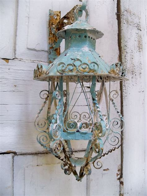 shabby chic lantern shabby chic scroll work metal lantern candle holder with hanger ooak anita spero