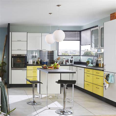 cuisine sacel meuble de cuisine jaune delinia pop leroy merlin