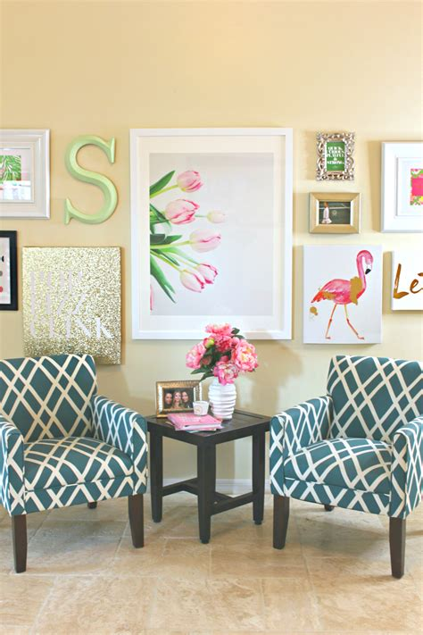 Decorating Living Room Walls - lilly pulitzer inspired wall collage diary of a