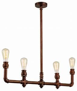 Rustic vintage brass pipe chandelier pendant industrial