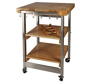 folding kitchen island cart folding island kitchen cart w butcher block style top s s accents qvc com