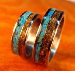 wedding bands sets his and matching titanium rings wedding rings turquoise rings tigers eye