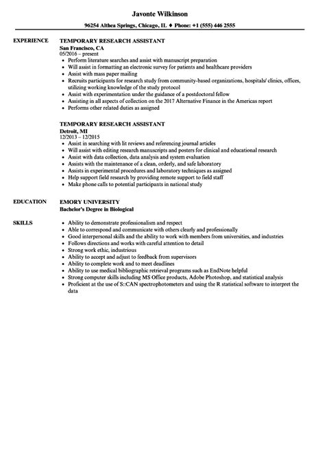 Research Assistant Resume by Temporary Research Assistant Resume Sles Velvet