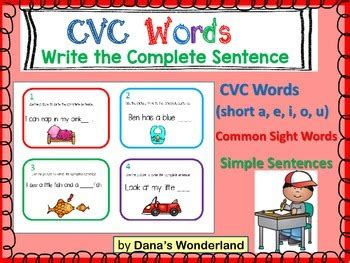To start teaching cvc words, it is important to know whether or not your class is ready. CVC Words Sentence Writing (set 2) by Dana's Wonderland | TpT